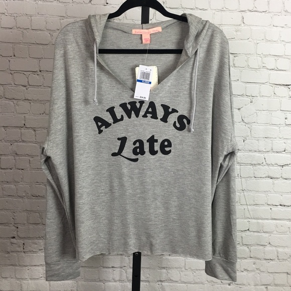 """Rebellious One Tops - Rebellious One """"Always Late"""" Graphic Hoodie, NWT"""